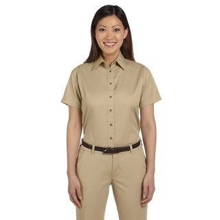 Easy Blend Women's Short-Sleeve Twill Dress Shirt With Stain-Release Stone