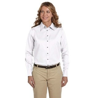 Easy Blend Women's White Long-sleeve Twill Dress Shirt