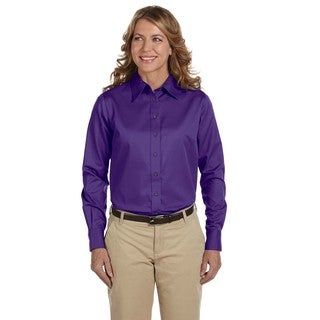 Easy Blend Women's Purple Long-Sleeve Twill Dress Shirt With Stain-release Team
