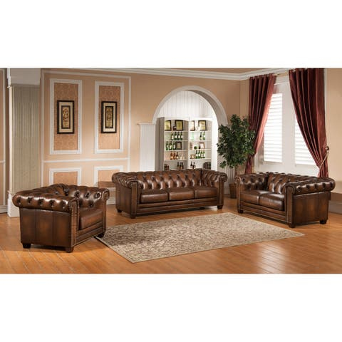 Hickory Leather Chesterfield Sofa, Loveseat, and Chair