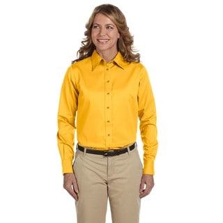 Easy Blend Women's Sunray Yellow Cotton/Polyester Long-sleeved Twill Dress Shirt With Stain Release