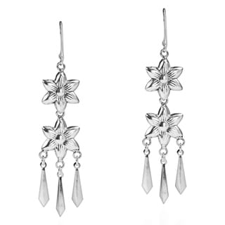 Double Tribal Flower Chandelier Sterling Silver Earrings (Thailand)