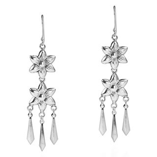 Handmade Double Tribal Flower Chandelier Sterling Silver Earrings (Thailand)