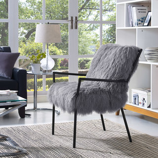 Sophie White Sheepskin Lucite Chair Free Shipping Today