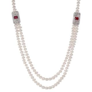 18k White Gold Freshwater Pearl 2-Layer Emd-Cut Red Pave Charm Necklace
