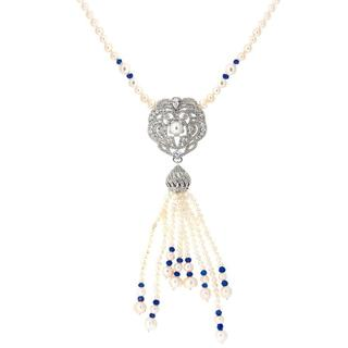 18k White Gold Freshwater Pearl Fancy Tasssel Pendant Necklace