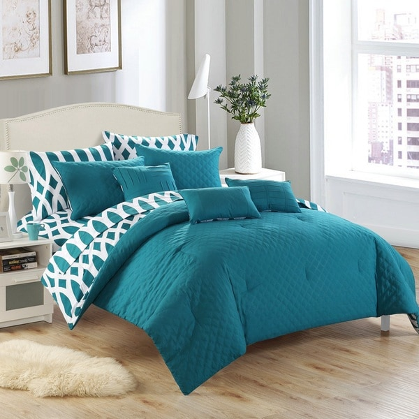 Shop Chic Home Stein Teal Diamond 10 Piece Bed In A Bag