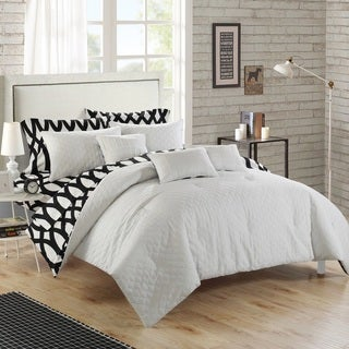 Chic Home Stein White 10-Piece Diamond Bed In a Bag Comforter Set