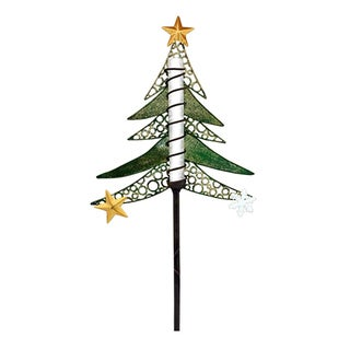 Solar Powered Multicolored Metal LED Tree Christmas Stake