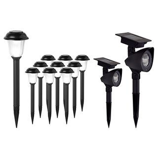 Solar-powered LED Outdoor Stake Lights Combo Set (Pack of 12)