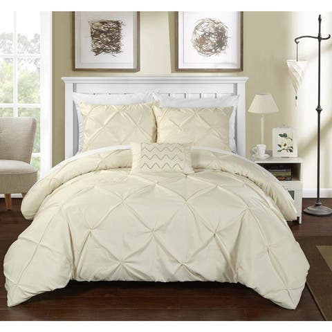 Chic Home 8-Piece Whitley Beige Bed in a Bag Duvet Set