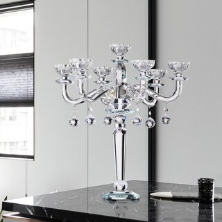 Namakero 12.75-inch Clear Crystals 7-arm Accent Candlestick