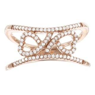 H Star 10k Rose Gold 1/4ct TDW Double Hearts Diamond Promise Ring (I-J, I2-I3)