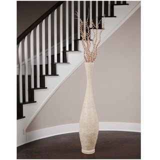 Embossed Large Beige Trumpet Vase (Indonesia)