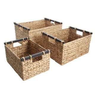 Gibson Gunnison 3-Piece Arrow Weaved Water Hyacinth Wicker work Basket Set