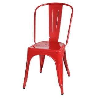 Metal Tolix-style Red Cafe Side Chair