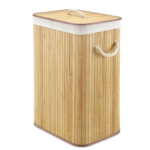 Shop Whitmor Rectangular Bamboo Hamper Natural Free