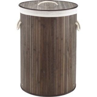 Whitmor Round Bamboo Hamper Dark