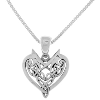 Carolina Glamour Collection Sterling Silver 18-inch Box Chain Celtic Heart Pendant Necklace