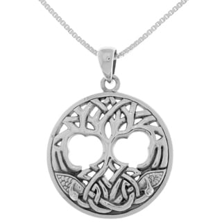 Carolina Glamour Collection 18-inch Sterling Silver Celtic Winter Tree of Life Pendant on Box Chain Necklace