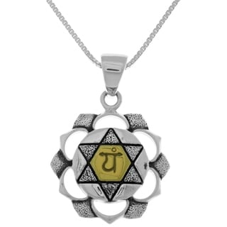 Carolina Glamour Collection Sterling Silver and 14k Gold-plated 18-inch Box Chain Anahata Heart Chakra Pendant