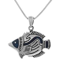 Sterling Silver Tropical Fish Pendant on 18-inch Box Chain Necklace