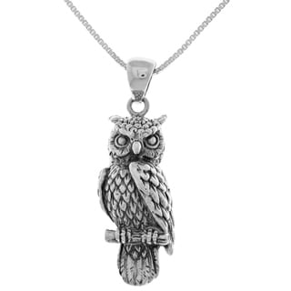 Carolina Glamour Collection Sterling Silver Perching Owl Pendant on 18-inch Box Chain Necklace