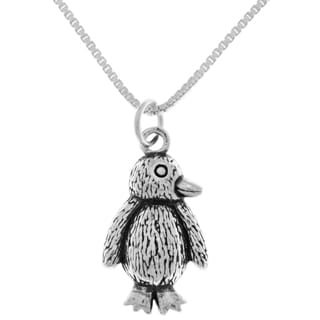 Carolina Glamour Collection Sterling Silver Small Baby Penguin Pendant on 18-Inch Box Chain Necklace