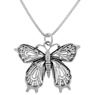 Carolina Glamour Collection Sterling Silver Victorian Butterfly Pendant With 18-inch Box Chain Necklace