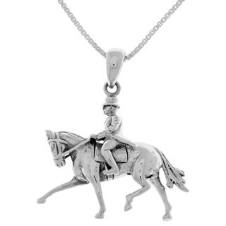 Carolina Glamour Collection Sterling Silver Dressage Equestrian Pendant and 18-inch Box Chain Necklace