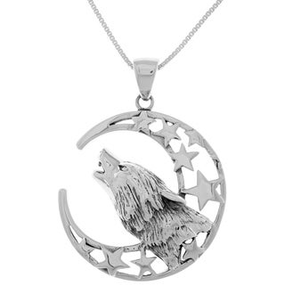 Sterling Silver Crescent Moon and Stars Howling Wolf Head Pendant on 18-Inch Box Chain Necklace