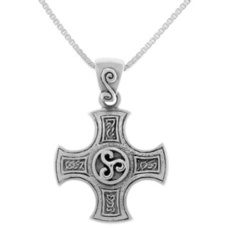 Sterling Silver Celtic Cross of Harmony Triskele Pendant on 18-inch Box Chain Necklace