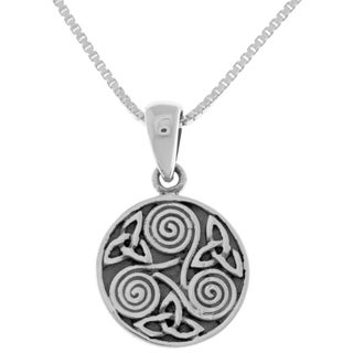 Carolina Glamour Collection Sterling Silver Celtic Trinity Triskele Swirls Knotwork Pendant on 18 Inch Box Chain Necklace
