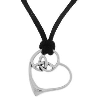 Carolina Glamour Collection Black Nylon/Sterling Silver Celtic Trinity Knot Heart Pendant