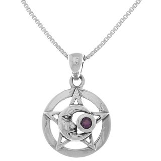 Sterling Silver Moon Star Pentacle Pendant Amethyst Necklace