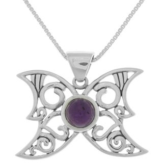 Carolina Glamour Collection Sterling Silver Moon Butterfly Pendant Amethyst Necklace