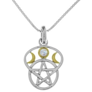 Carolina Glamour Collection Sterling Silver Moon Goddess Pentacle Pendant Gemstone Necklace