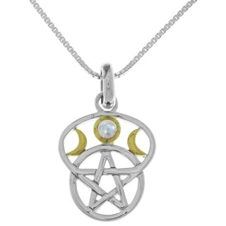 Sterling Silver Moon Goddess Pentacle Pendant Gemstone Necklace