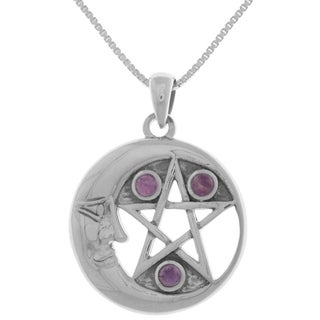 Sterling Silver Moon And Star Pentacle Pendant With Amethyst On 18 Inch Chain Necklace