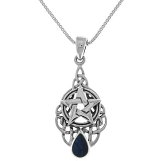 Carolina Glamour Collection Sterling Silver Celtic Pentagram Pentacle Star Pendant Paua Shell Necklace