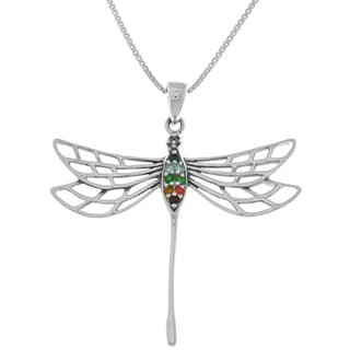 Carolina Glamour Collection Sterling Silver Large Chakra Dragonfly Pendant Necklace
