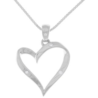 White Sterling Silver Ribbon Heart Pendant Necklace