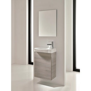 Eviva Action Modern Grey 18-inch Wall-mount Bathroom Vanity with White Integrated Porcelain Sink