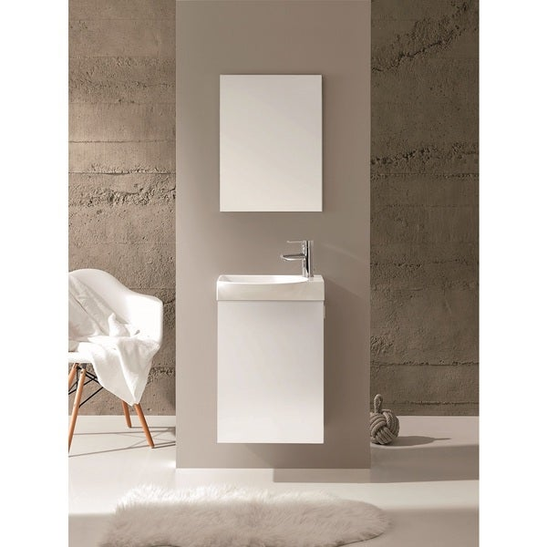 Eviva Action White 18 Inch Wall Mount Bathroom Vanity With Integrated Porcelain Sink Free