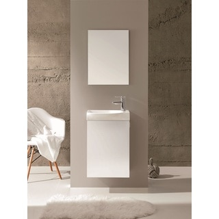 Eviva Action White 18-inch Wall Mount Bathroom Vanity with Integrated Porcelain Sink