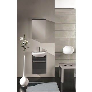 Eviva Infinity Grey Wood 18-inch Wall-mount Modern Bathroom Vanity with White Porcelain Integrated Sink