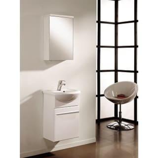 Shop Eviva Infinity White Wood Porcelain 18 Inch Wall Mount Modern Bathroom Vanity And Sink
