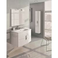 Eviva 31-Inch Round Wall-mount Modern White Bathroom Vanity and Integrated White Porcelain Sink