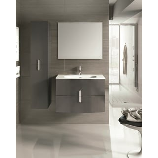 Eviva 31-inch Grey Round Wall-mounted Modern Bathroom Vanity with White Integrated Porcelain Sink
