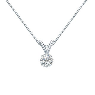 Auriya 18k Gold 1/4ct TDW Round-Cut Diamond 4-Prong Solitaire Necklace (I-J, SI2-SI3)